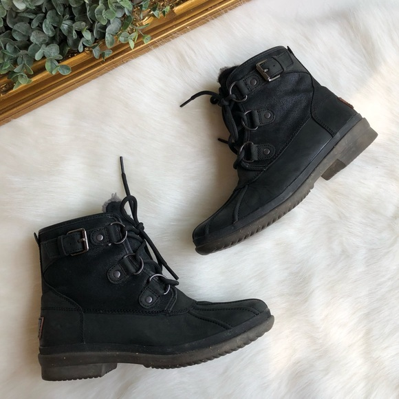 4b221a96b59 Ugg Waterproof Black Cecile Lace Up Booties